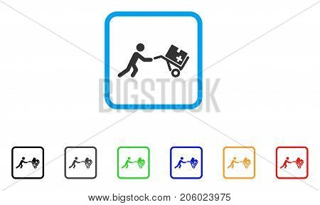 Medical Shopping Cart icon. Flat pictogram symbol in a rounded frame. Black, gray, green, blue, red, orange color additional versions of Medical Shopping Cart vector.
