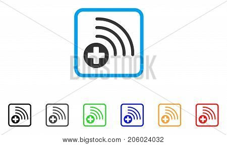 Medical Source icon. Flat pictogram symbol in a rounded rectangle. Black, gray, green, blue, red, orange color versions of Medical Source vector. Designed for web and application interfaces.
