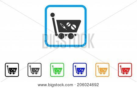 Medication Shopping Cart icon. Flat pictogram symbol in a rounded squared frame. Black, gray, green, blue, red, orange color versions of Medication Shopping Cart vector. Designed for web and app UI.
