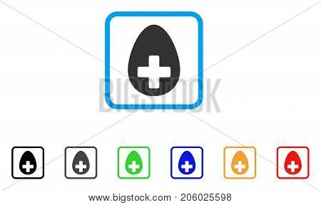 Plus Egg icon. Flat pictogram symbol inside a rounded frame. Black, gray, green, blue, red, orange color versions of Plus Egg vector. Designed for web and app UI.