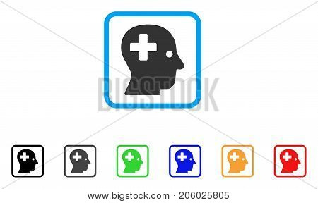 Plus Head icon. Flat iconic symbol in a rounded square. Black, gray, green, blue, red, orange color versions of Plus Head vector. Designed for web and application UI.