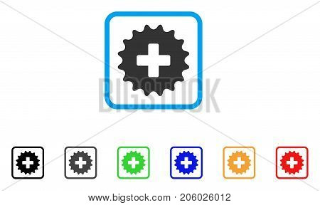 Plus Stamp icon. Flat pictogram symbol inside a rounded frame. Black, gray, green, blue, red, orange color additional versions of Plus Stamp vector. Designed for web and software interfaces.