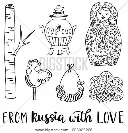 Russian doodle icons collection isolated on white background. Ethnic symbols of birch tree, matryoshka, samovar, lollipop rooster, traditional drying coockies, kokoshnik hat and other