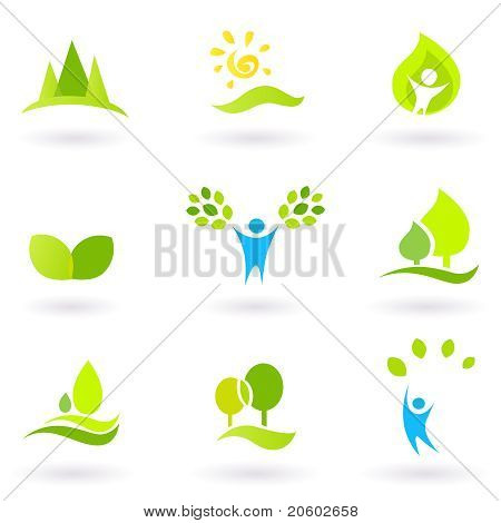 Tree, Leaves And Ecology Vector Icon Set (blue And Green).