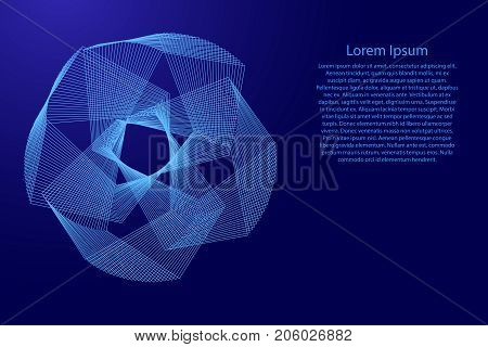 Abstract polygonal shape of the broken blue lines of vector illustration. Background information blank lorem ipsum.