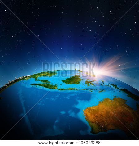 Australia and Oceania from space. Elements of this image furnished by NASA 3d rendering
