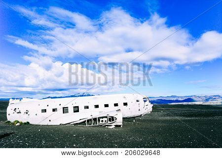 View of a plane wreck near Vik in south Iceland.