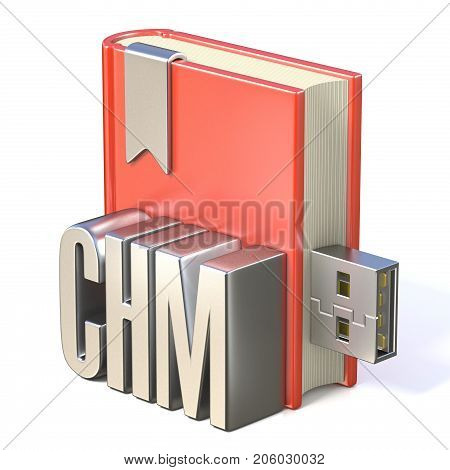 Ebook Icon Metal Chm Red Book Usb 3D