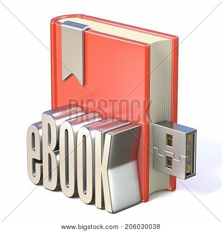 Ebook Icon Metal Ebook Red Book Usb 3D
