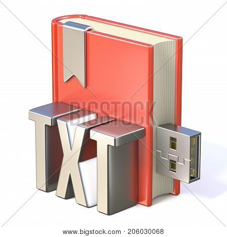 Ebook Icon Metal Txt Red Book Usb 3D