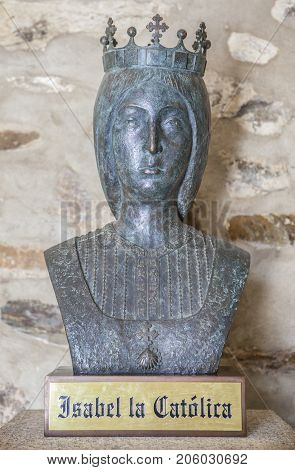 Guadalupe Spain - September 3th 2017: IIsabella I of Castile bronze bust at Guadalupe Monastery entry. Caceres Extremadura Spain