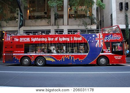 SYDNEY AUSTRALIA - OCTOBER 11 2015: Sydney tourist hop-on hop-off bus also known as