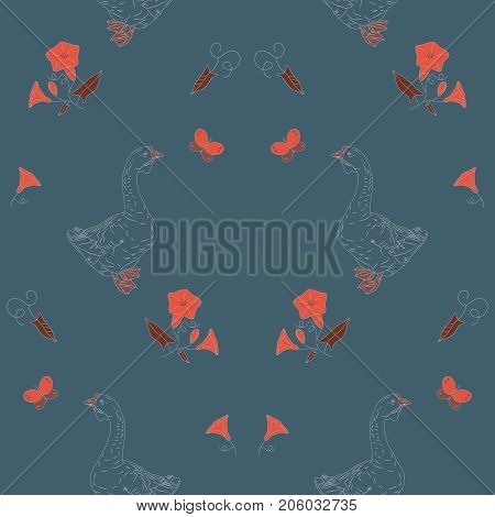 Seamless pattern with geese, wildflower and butterfly