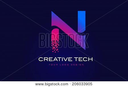N Initial Letter Logo Design With Digital Pixels In Blue Purple Colors.