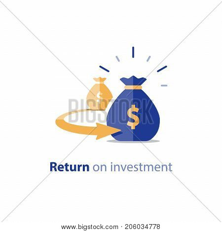 Return on investment, finance consolidation, budget planning, savings account, income growth, long term investment, refinancing concept, vector flat icon