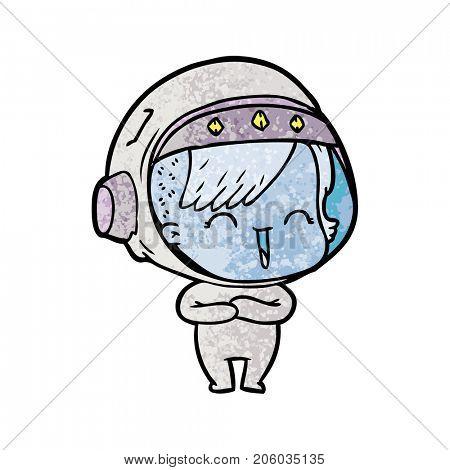 cartoon laughing astronaut girl