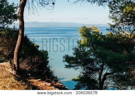 Summer sea coast morning landscape Kassandra peninsula, Halkidiki, Greece