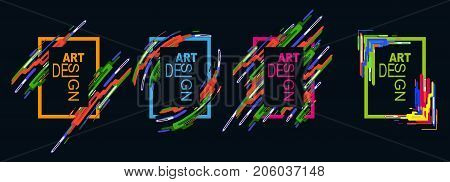 Vector Frame For Text Modern Art Graphics For Hipsters. Modern Style Abstraction With Composition Ma