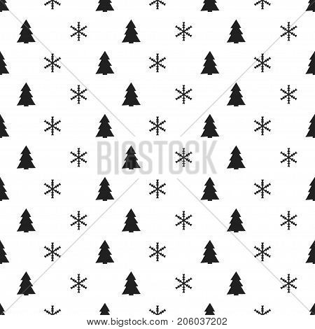 Christmas New Year seamless pattern with snowflakes christmas tree. Holiday background. Xmas winter decoration. Festive texture. Hand drawn vector illustration. Snow pattern. Wrapping gift paper
