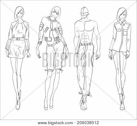 Sketch. Fashion Girls And Man On A White Background.