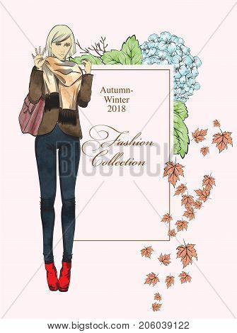 Poster. Autumn-winter 2018. Fashion Collection. Fashionable Girl In A Jacket And Jeans On A Pink Bac