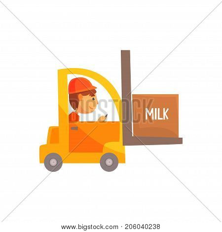 Yellow forklift truck with box of milk, dairy product transportation cartoon vector Illustration isolated on a white background