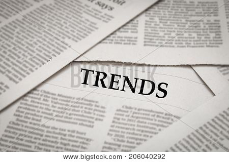 trends issue or trends headline on newspaper background