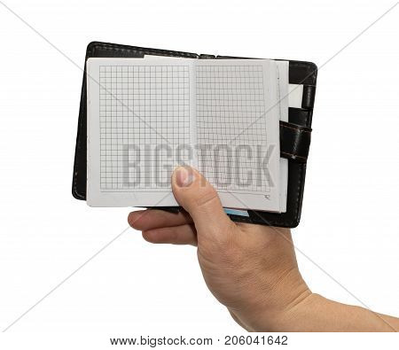 notebook in hand on white background . Photos in the studio