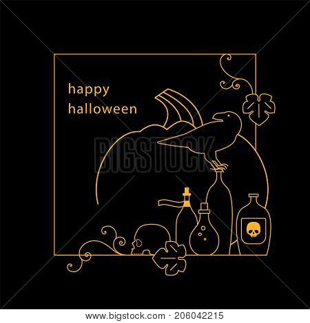 Halloween. Pumpkin, crow, skull and magic potion. Line icon. Modern linear style. Vector illustration.