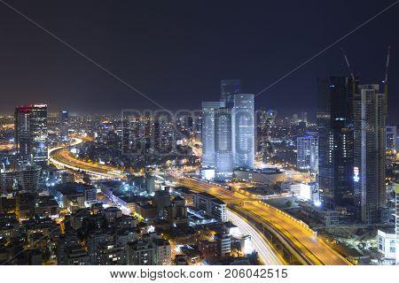 Tel Aviv Skyline At Night, Skyscraper and Ayalon Freeway