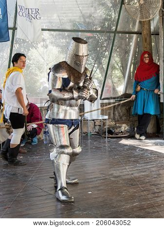 Jerusalem Israel September 23 2017 : Knights in the ring prepared to repel an attack at the festival
