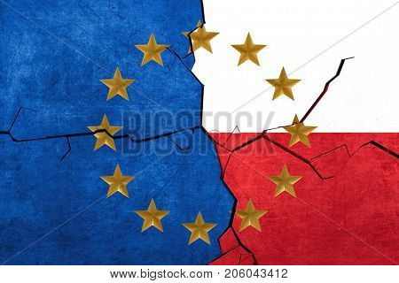 European union and Polish flags breaking apart - 3d render