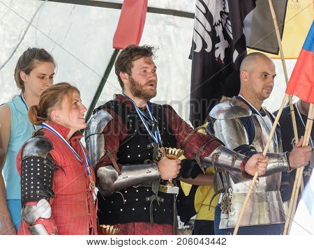 Jerusalem Israel September 23 2017 : Knights - the winners of the tournament sing the hymn of their country at the festival