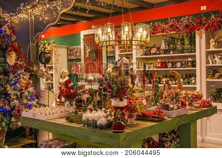 VETRALLA, ITALY - SEPTEMBER 23, 2017: Christmas table at the reign of Santa Claus