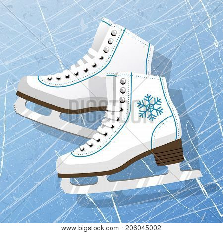 Pair of white Ice skates. Figure skates. Women's ice skates. Texture of ice surface. Vector illustration background