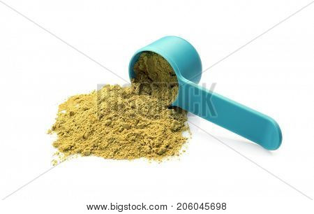 Heap of hemp protein with scoop, isolated on white