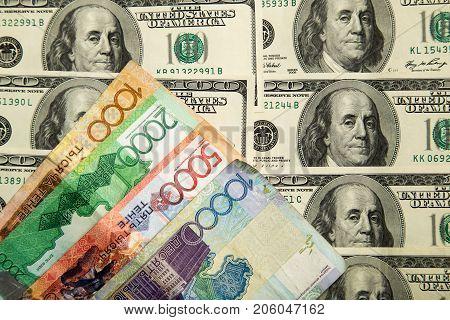 Kazakh tenge and U.S. dollars . Photos in the studio