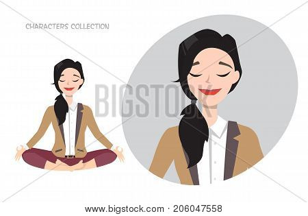Beautiful young woman relax and enjoy. Modern trendy woman in casual office style meditating.