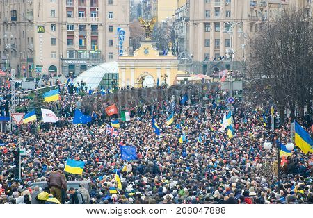 Kiev (kyiv), Ukraine - December 1, 2013: Hundreds Of Thousands Protest In Kiev Against Suspension Of