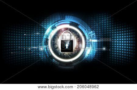 Padlock with security lock concept and futuristic electronic technology background, transparent vector illustrator