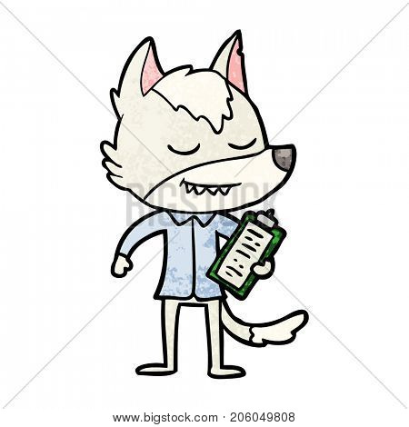 friendly cartoon wolf with notes