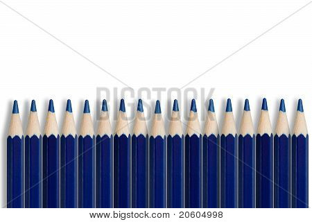 A Line Of Blue Pencils