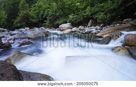 French mountain river stream at summer view