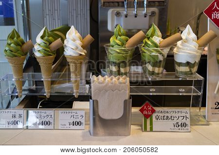 Kyoto, Japan - May 17, 2017:  Display of delicious green matcha ice cream and prices