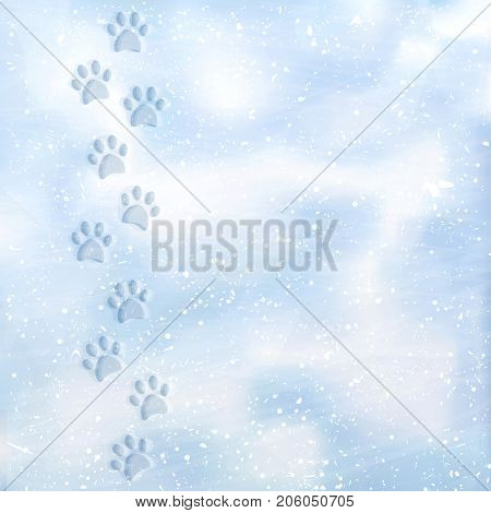Animal foot prints to a snowy. Tracks in the snow. Dog footprints in the snow. Texture of snow surface. Vector background