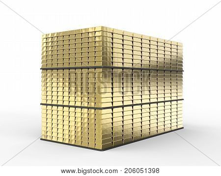 3d rendering heap of gold bullion on white background