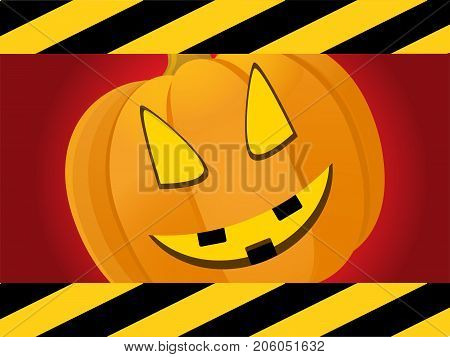 Halloween Red Background with Black and Yellow Striped Frame and Creepy Pumpkin Face
