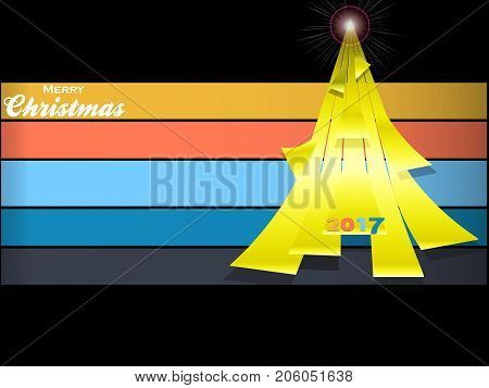 3D Illustration of Yellow Christmas Tree Made of Curved Stripes Over Multicoloured Horizontal Stripes and Decorative Text