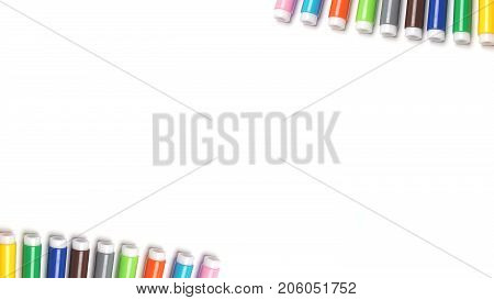 Colored markers isolated on the white background