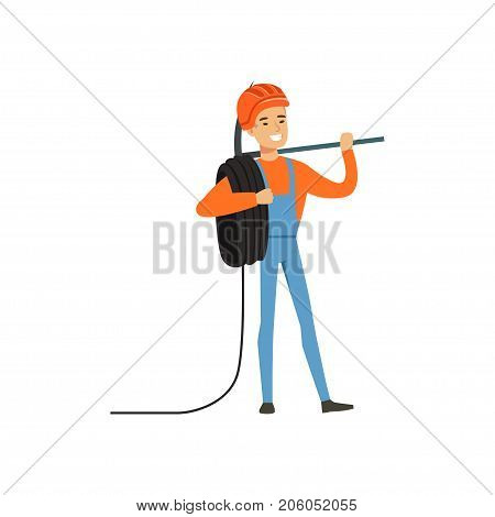 Male miner worker in uniform standing with pickaxe and wire roll, professional miner at work, coal mining industry vector Illustration isolated on a white background